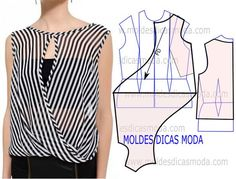 moldes de blusas cruzada na frente com manga de babado ile ilgili görsel sonucu Dress Sewing Patterns, Blouse Patterns, Clothing Patterns, Blouse Designs, Blouse Sewing Pattern, Fashion Sewing, Diy Fashion, Costura Fashion, Sewing Blouses
