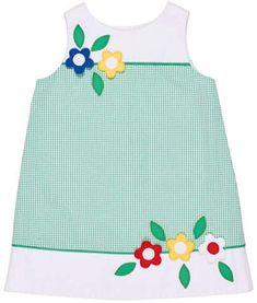 Florence Eiseman Seersucker Check A-Line Dress w/ Flowers, Size 2-6