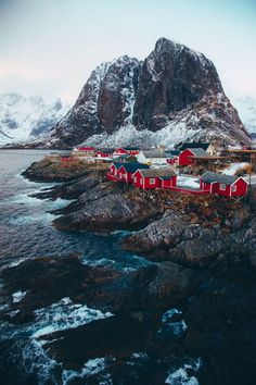 Moody Norway with red houses, such a pretty scene