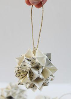 origami christmas ornaments | Origami kusudama 2 1/2'' Christmas ornament Paper spiky ball Home ...