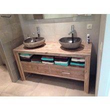 wastafelkast van gebruikt steigerhout badkamer