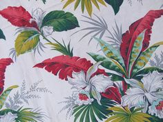 During Christmas: tropical fabrics for window treatment | Tropical Orchids Bark Cloth, Vintage 30s 40s Fabric, Greens Aqua Red ...