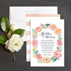 "Peony Wreath Wedding Invitations by Elli | Elli--**EXPLORE an Amazing Collection of ""Theme Matching Wedding Invitation Sets"" by Visiting... http://www.zazzle.com/weddinginvitationkit"
