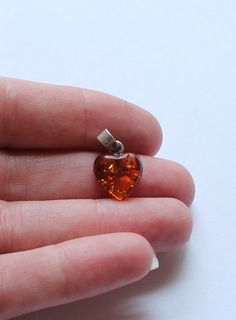 Antique Sterling Silver & Baltic Amber Heart Pendant by paststore on Etsy
