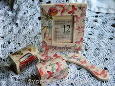 Tai kas natūralu ir pagaminta  su meile  : dekoruoti rėmeliai su gimimo dienos kalendorio lap...