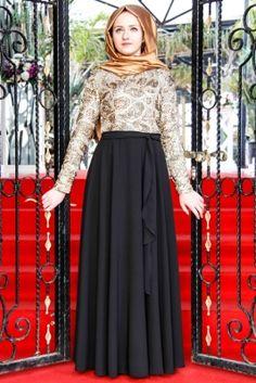Som Fashion Siyah Leopar Şal Tesettür Abiye Elbise