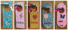 Colgador de puerta infantil con nombre decorado con decoupage | Aprender manualidades es facilisimo.com