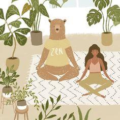 Todo mundo zen (: Veja o pôster completo na nossa lojinha: lebrii.com.br #meditação #decoraçãocomsignificado #quadrosdecorativos #quadroscriativos #poster #pôster #posterlebrii #zen #yoga #decoraçãodeparede #decoraçãocriativa #ilustração Art And Illustration, People Illustration, Illustrations And Posters, Yoga Art, Zen Yoga, Doodle Cartoon, Pretty Drawings, Poster S, Bear Art