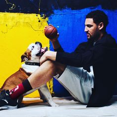 Klay Thompson and Rocco for Stance Nba Players, Basketball Players, Golden State Basketball, Curry Warriors, Ian Clark, Shooting Guard, Mini Drawings, The Kat, Shaun Livingston