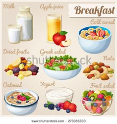 Breakfast 2. Set of cartoon vector food icons. Milk, apple juice, cold cereal, nuts, dried fruits, Greek salad, oatmeal, yogurt, fruit salad.