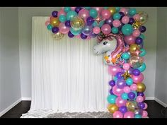 Baloon Garland, Diy Garland, Rainbow Party Decorations, Birthday Balloon Decorations, Unicorn Themed Birthday Party, Unicorn Party, Balloon Arch Diy, Balloon Ideas, Rose Gold Letter Balloons