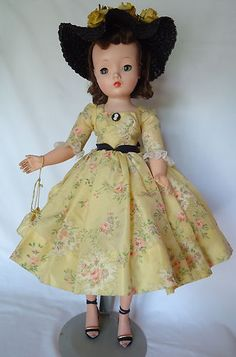 Vintage 1950s Madame Alexander Cissy Doll in Yellow Outfit