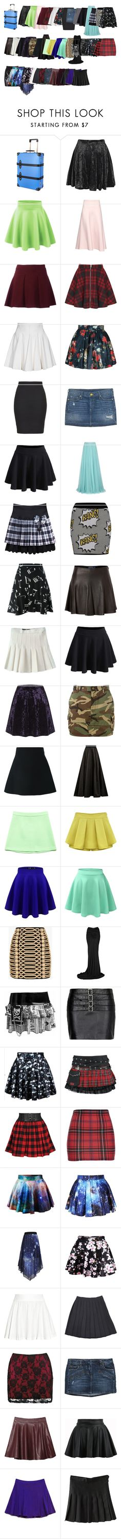 """Running away from home suitcase #7- skirts"" by oh0601 ❤ liked on Polyvore featuring Globe-Trotter, Boohoo, Valentino, Oh My Love, Plein Sud, Annie Greenabelle, True Religion, Jenny Packham, Topshop and Yves Saint Laurent"