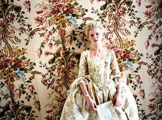 From Marie Antoinette-- I want my silk wedding slippers to be embroidered sort of like her gown and the wallpaper. The colorful floral/filigree embroidery = <3