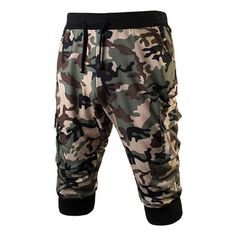 Mens Camo Printing Knitted Drawstring Zipper Pocket Casual Sport Shorts is Durable-NewChic Mobile.