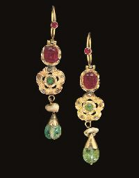 A PAIR OF MOROCCAN RUBY AND DIAMOND   19TH CENTURY