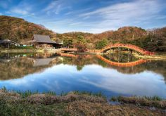 The Red Bridge and the Temple in Kanagawa, Japan