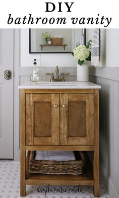 Learn how to build a wood DIY bathroom vanity with doors that's budget friendly and beautiful! This DIY small bathroom vanity only costs $100 in lumber and is great for adding hidden bathroom storage! Get the full tutorial, printable build plans, and how to video! Bathroom Makeovers On A Budget, Bathroom Vanity Makeover, Rustic Bathroom Vanities, Diy Vanity, Wood Bathroom, Diy Bathroom Decor, Bath Decor, Bathroom Ideas, Small Bathroom Storage