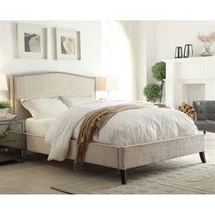 Worldwide Home Furnishings 101-480 !nspire Upholstered Nailhead Trim Platform Bed