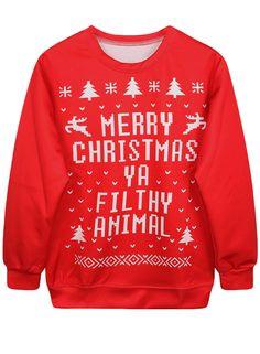 Fashion Christmas Printed Pullover Loose Sweatshirt