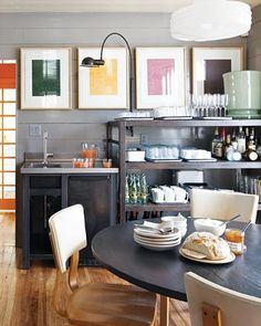 Amazing. Love art in a kitchen. This color combo is beautiful!