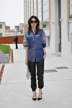 she is brilliant. #LeilaYavari and that chambray meets leather moment in Milan.