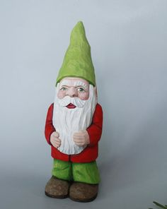 Garden Gnome Wood Carving of a Christmas Elf by TurtleMtnArtistry