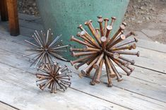steel sphere sculpture  - industrial art  -FATHERS DAY -  upcycled nails - recycled steel  - atomic art - home decor - metal garden art