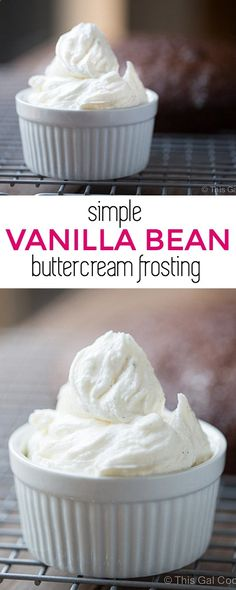 Simple Vanilla Bean Buttercream Frosting - Perfect for topping cakes and cupcakes. This Gal Cooks Cupcake Recipes, Baking Recipes, Cupcake Cakes, Dessert Recipes, Baking Cupcakes, Vanilla Cupcakes, Mocha Cupcakes, Cupcake Icing, Puddings