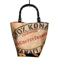 Made to Order  Kona Coffee Bag Purse with Bamboo by SasakiBags, $65.00