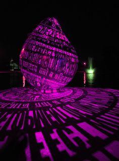 Steel Sculptures Project Words Through Colored Lights - My Modern Met