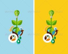 Flat Design Nature Concept: Green Energy