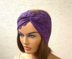 Purple lace headband strech headband turban by KnitterPrincess, $5.50