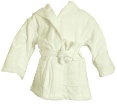 Turkish Kids Hooded Terrycloth White Robe #bathrobeshoppe www.bathrobeshoppe.com