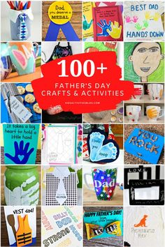 This mega list of Father's Day crafts, activities, homemade gifts, & things to do with Dad has a project for kids of every age! Preschoolers and toddlers will love creating handprint crafts especially for Dad, while older children can make homemade gifts that are more intricate, like origami cards. Plus, printable Fathers Day cards, templates, and coloring pages to print and color at home! Holiday Activities For Kids, Holiday Crafts For Kids, Craft Activities, Fathers Love, Happy Fathers Day, Origami Cards, Love Dad, Fathers Day Crafts, Holidays With Kids