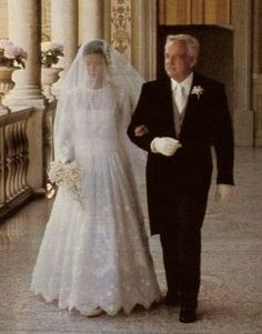 Princess Caroline with her father, Prince Rainier | In 1978, 21-year-old Princess Caroline married 38-year-old playboy Philippe Junot. They were civilly married on June 28, with a religious ceremony on the following day. For her wedding gown, Caroline turned to Marc Bohan at Christian Dior. | The couple divorced, childless, on October 9, 1980.
