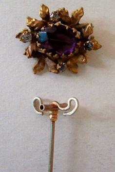 Removable amethyst & rhinestone brooch hatpin