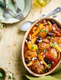 Greek-style chicken and olive stew - Healthy Cooking, Healthy Dinner Recipes, Cooking Recipes, Chef Recipes, Easy Mediterranean Diet Recipes, Mediterranean Chicken, Mediterranean Style, Sainsburys Recipes, Greek Style Chicken