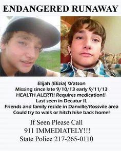 9/10/13: Elijah Watson is MISSING from Danville, IL.  Last seen in Decater, IL.