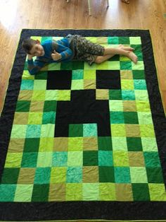 I love this, the Minecraft aesthetic lens itself too patchwork perfectly Minecraft Party, Minecraft Quilt, Minecraft Room, Minecraft Crafts, Boys Minecraft Bedroom, Minecraft Blanket, Minecraft Furniture, Minecraft Skins, Minecraft Houses