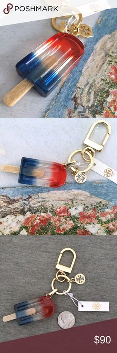NWT Tory Burch Popsicle Bag Charm Get into a summer state of mind with this fun red, white and blue popsicle charm! Add some playfulness to your bag anytime! This charm has never been used and is in perfect condition except for a few small scrtaches on the fob as pictured, nothing that would be noticable during use! Tory Burch Accessories Key & Card Holders