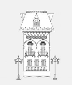 download this amazing vintage house coloring page and let the virtual traveling begin