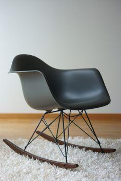 Matte black Eames rocker