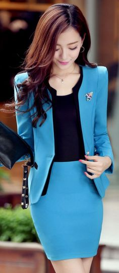 Officewear set of 3 items: blazer, skirt and tank top YRB0699