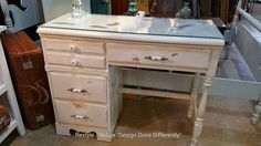 Awesome distressed desk! Can also use as a vanity! #restylechicago #distressed https://www.instagram.com/p/BKoFCdshyDf/#utm_sguid=126328,c8f6fb20-d214-0176-28fe-9edf1102dbd8