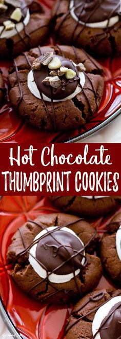 These Hot Chocolate Thumbprint Cookies taste like homemade hot chocolate in the form of a chewy chocolate cookie! They're intensely chocolatey, have a gooey marshmallow center, and covered in drizzled chocolate. Perfect. #hotchocolate #cookie #dessert #christmas #thanksgiving