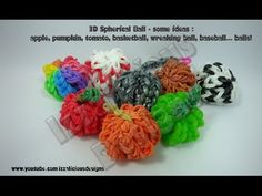 Rainbow Loom 3D BALL Charm. Designed and loomed by Kate Schultz of Izzalicious Designs. Click photo for YouTube tutorial. 03/24/14. (Great design for a baseball, pumpkin, basketball, wrecking ball or beach ball.)