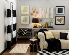Metallic Home Decor To Spice Up Any Living Space Make a grand statement with metallic gold and black home accents! This stylish collection brings big-city style to your home without the hefty price tag. Gold Bedroom Decor, Gold Home Decor, Living Room Decor, Black Decor, White Decor, Black And Gold Living Room, Black And Gold Curtains, Black White And Gold Bedroom, Striped Curtains