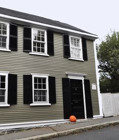 I receive many requests for house paint colors for historic homes spotted in Marblehead. My neighbor recently painted her 1809 home a gorgeous olive gray. The color was custom but it's really close...