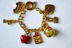 Vintage Bracelet Pendant I love NY, Central Park Gold Plated Bracelet Statue of Liberty Heavy Bracelet by eventsmatters